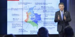 Santos exponiendo su Plan Nacional de Desarrollo